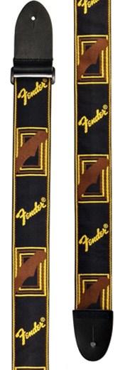 "Fender Strap 2"" Monogrammed Black/Yellow/Brown"