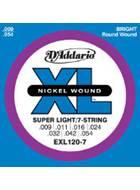 D'Addario EXL120-7 Super Light 7-String Electric 9-52