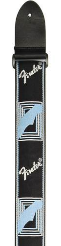 Fender Strap 2 inch Monogrammed Black/Light Grey/Blue