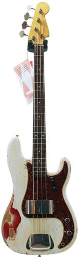 Fender Custom Shop 59 P Bass Heavy Relic Olympic White over Candy Apple Red RW #R64052