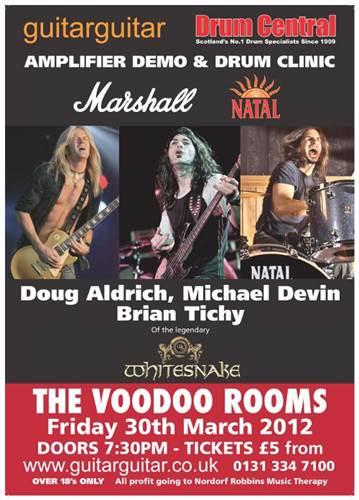 Tickets Marshall/Natal (Whitesnake) Demo Night Voodoo Rooms Edinburgh 30th March 2012