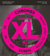 D'Addario ECB81S XL Chromes Flatwound Light Short Scale Bass 45-100