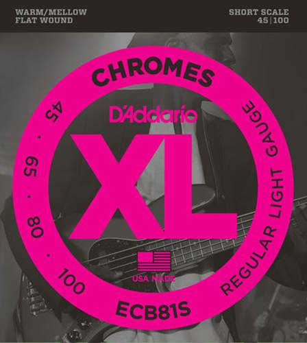 D'Addario ECB81S XL Chromes Flatwound Light Short Scale Bass 45-100
