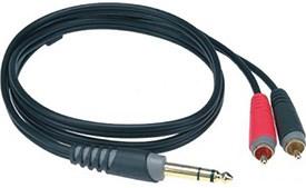 Klotz AY3-0300 3m 1/4 inch Stereo Jack to 2 x Phono