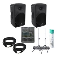 Mackie SRM450 v3 Bundle Inc. ProFX8 V2 Mixer, Speaker Stands and Cables