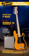 Squier Start Playing P-Bass Butterscotch Blonde Pack With Rumble 15 Amp