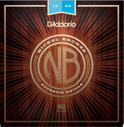 D'Addario NB1253 Nickel Bronze Acoustic Guitar Strings, Light, 12 - 53