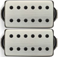 Bare Knuckle Juggernaut Humbucker Calibrated Covered Set - wide spacing - 4 conductor - brushed nickel - black bolts