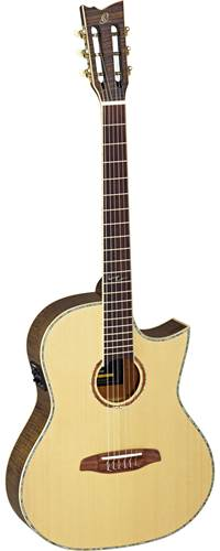 Ortega OPAL-NY-AGB Solid Pruce/Flamed Mahogany Electro Acoustic Classical Antique Grey Black