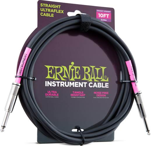 Ernie Ball 6048 10ft/3m Straight Black Instrument Cable
