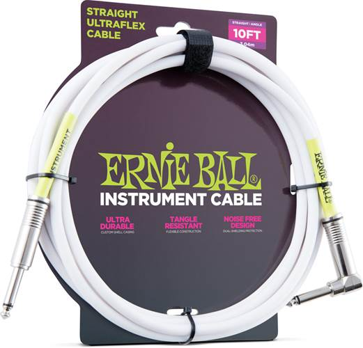 Ernie Ball 6049 10ft/3m Angled White Instrument Cable