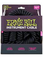 Ernie Ball 6044 Ultraflex 30ft Coiled Straight Black Instrument Cable