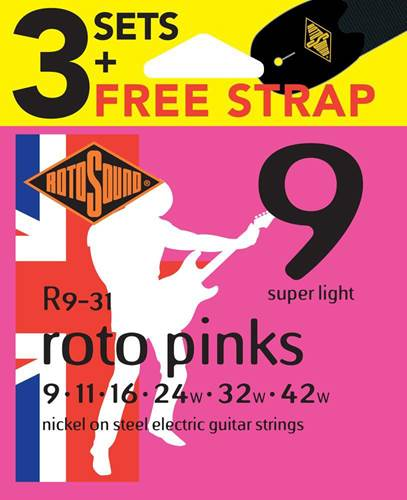 Rotosound 3 Pack R9 Pinks 9-42 with Free Strap