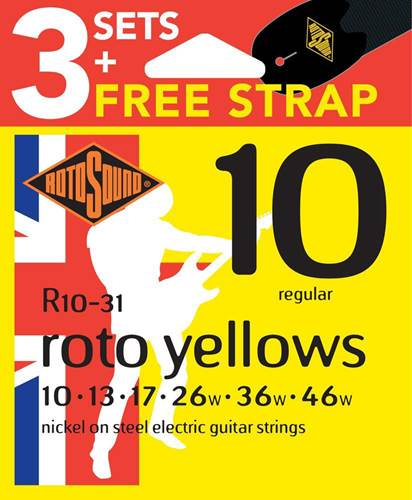 Rotosound 3 Pack R10 Yellows 10-46 with Free Strap