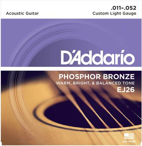 D'Addario EJ26 Custom Light Acoustic 11-52