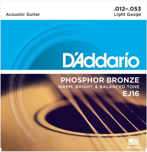 D'Addario EJ16 Light Acoustic 12-53