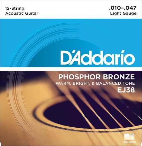 D'Addario EJ38 Light 12 String Acoustic 10-47