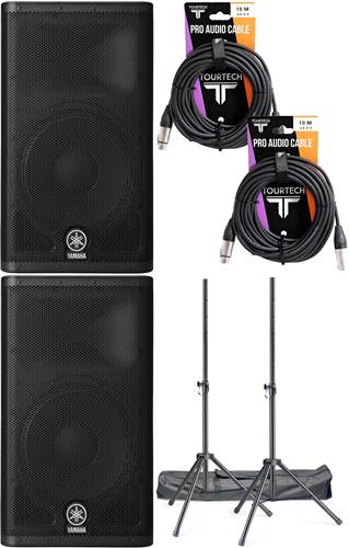 Yamaha DXR12 Bundle including stands and cables