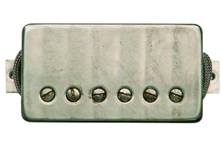 Bare Knuckle The Mule 6 String Aged Raw Nickel Covered Standard Neck Pickup, Short 1/4 Inch Length, aged nickel screw, 4 conductor, coil potted.