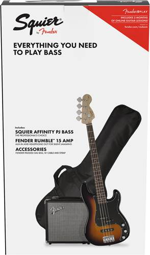 Squier Pack Affinity Series PJ Bass Brown Sunburst