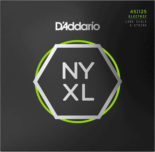 D'Addario NYXL45125 Bass Set Long Scale, 5-String Light Top/Medium Bottom, 45-125