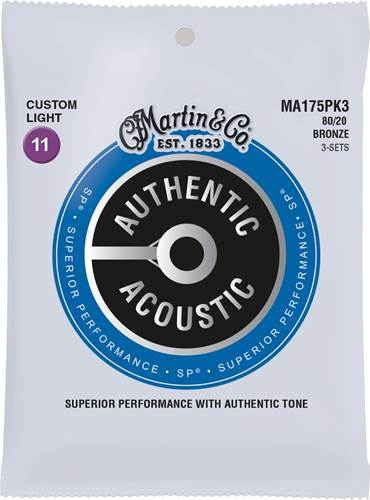 Martin Authentic Acoustic - SP - 80/20 Bronze 3 Pack Custom Light (11-52)