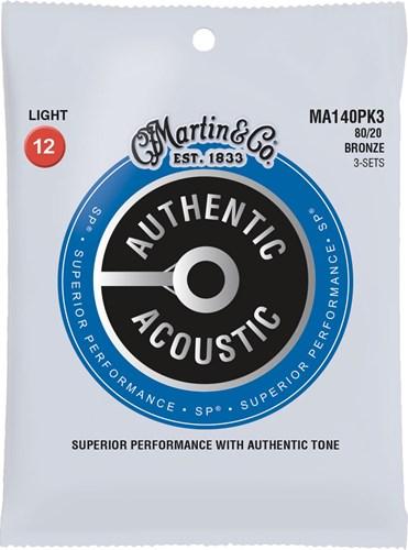 Martin Authentic Acoustic - SP - 80/20 Bronze 3 Pack Light (12-54)