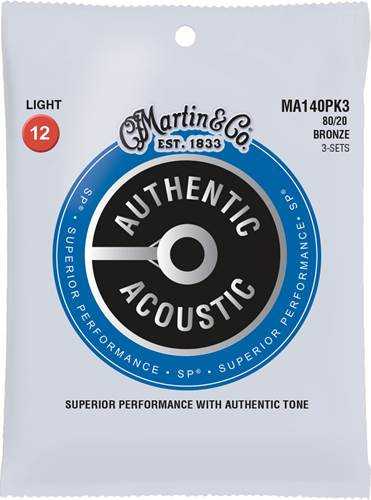 Martin Authentic Acoustic - SP - 80/20 Bronze 3 Pack Light (12-54)
