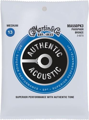 Martin Authentic Acoustic - SP - Phosphor Bronze 3 Pack Medium (13-56)