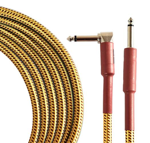 TOURTECH TTGC-10-BTW-SR 3m/10ft Braided Tweed  Straight to Angled Guitar Cable