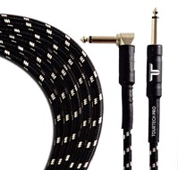 TOURTECH TTGC-10-BBKGR-SR 3m/10ft Braided Black & Grey Straight to Angled Guitar Cable