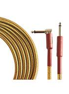 TOURTECH TTGC-20-BTW-SR 6m/20ft Braided Tweed  Straight to Angled Guitar Cable