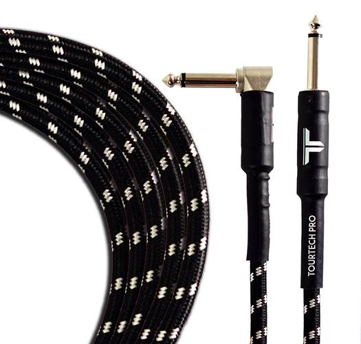 TOURTECH TTGC-20-BBKGR-SR 6m/20ft Braided Black  Grey Straight to Angled Guitar Cable