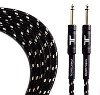 TOURTECH TTGC-20-BBKGR-SS 6m/20ft Braided Black & Grey Straight Guitar Cable