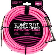 Ernie Ball 25Ft Straight-Angle Braided Neon Pink