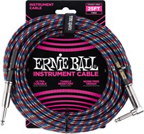 Ernie Ball 25Ft Straight-Angle Braided Blue-Red-White