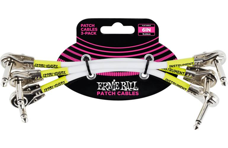 Ernie Ball 6in Pancake Patch Cable 3Pk White