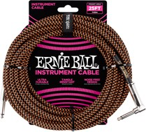 Ernie Ball 25Ft Straight-Angle Braided Black-Orange