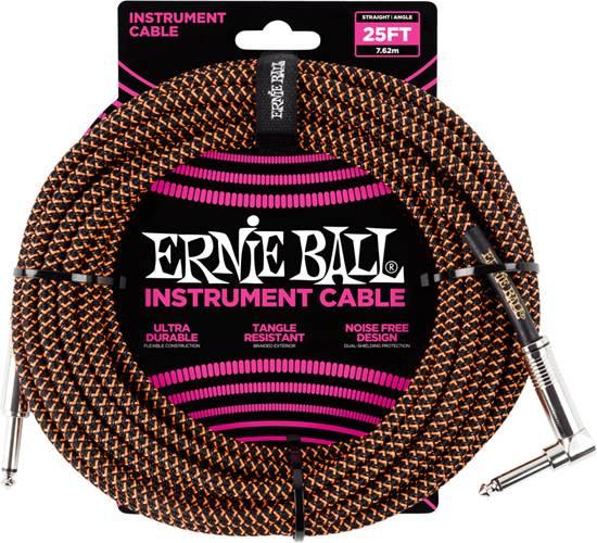 Ernie Ball 25Ft Straight-Angle Braided Black-Orange
