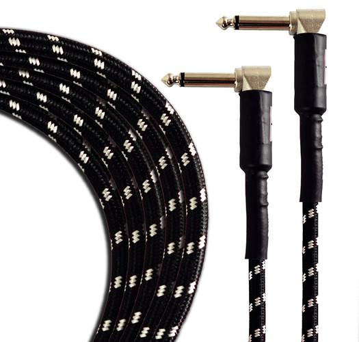 TOURTECH TTGC-6-BBKGR-RR 2m/6ft Braided Black Tweed Right Angle to Right Angle Patch Cable