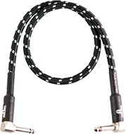 TOURTECH TTGC-2-BBKGR-RR 0.6m/2ft Braided Black Tweed Right Angle to Right Angle Patch Cable