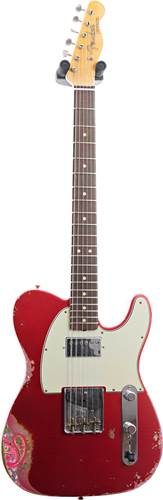 Fender Custom Shop 1960s HS Tele Heavy Relic Aged Candy Apple Red over Pink Paisley #CZ541994
