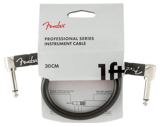 Fender Professional Series 1ft Angled Instrument Cable, Black