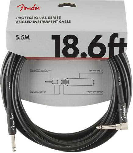 Fender Professional Series 18.6ft Straight/Angled Instrument Cable, Black