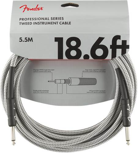 Fender Professional Series 18.6ft Instrument Cable,  White Tweed