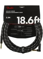 Fender Deluxe Series 18.6ft Straight/Angled Instrument Cable, Black Tweed