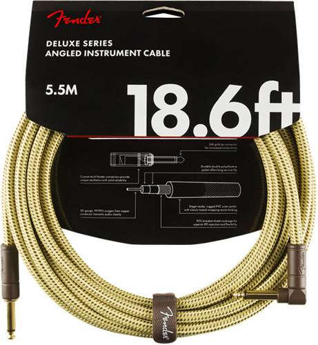 Fender Deluxe Series 18.6ft Straight/Angled Instrument Cable, Tweed