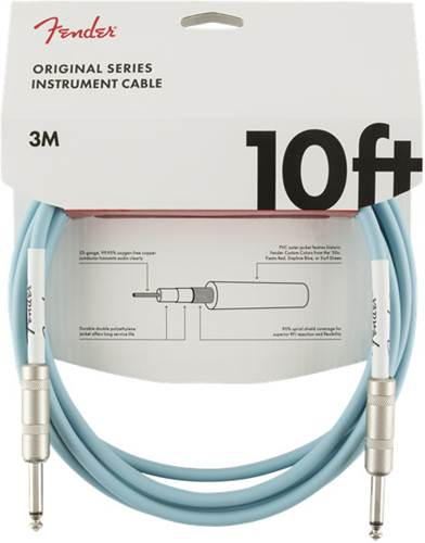 Fender Original Series 10ft Instrument Cable, Daphne Blue