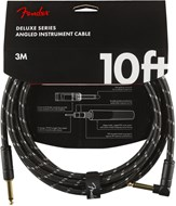 Fender Deluxe Series 10ft Straight/Angled Instrument Cable, Black Tweed