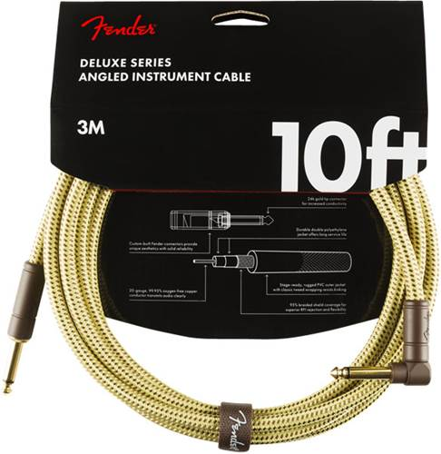 Fender Deluxe Series 10ft Straight/Angled Instrument Cable, Tweed